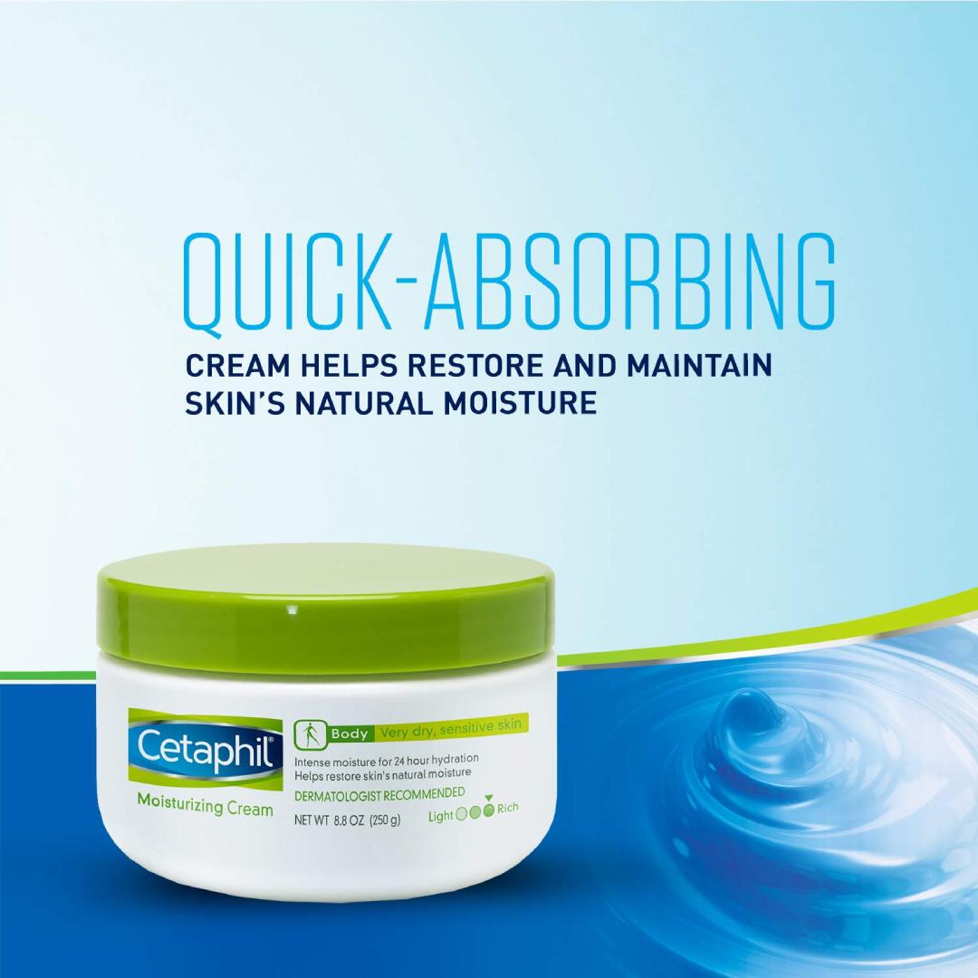 Cetaphil Moisturizing Cream for Very Dry, Sensitive Skin, Extra Strength, Fragrance Free, 8.8 Ounce