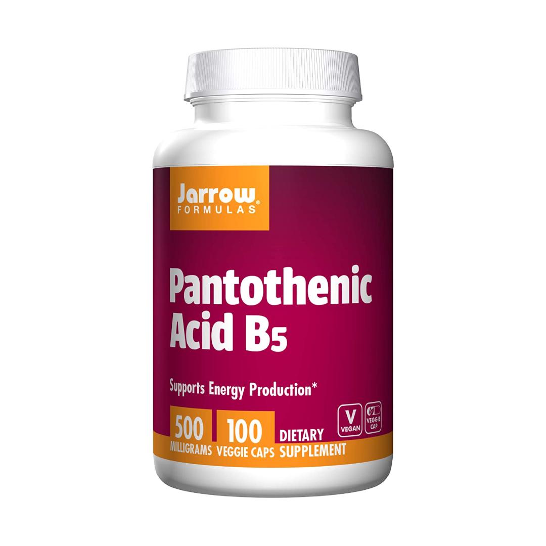 Jarrow Formulas Pantothenic Acid B5, Supports Energy Production, 500 mg, 100 Veggie Capsules