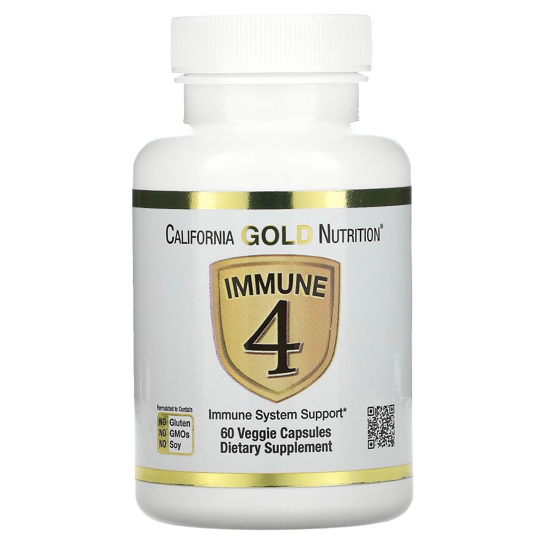 California Gold Nutrition Immune 4, Immune System Support, 60 Veggie Capsules