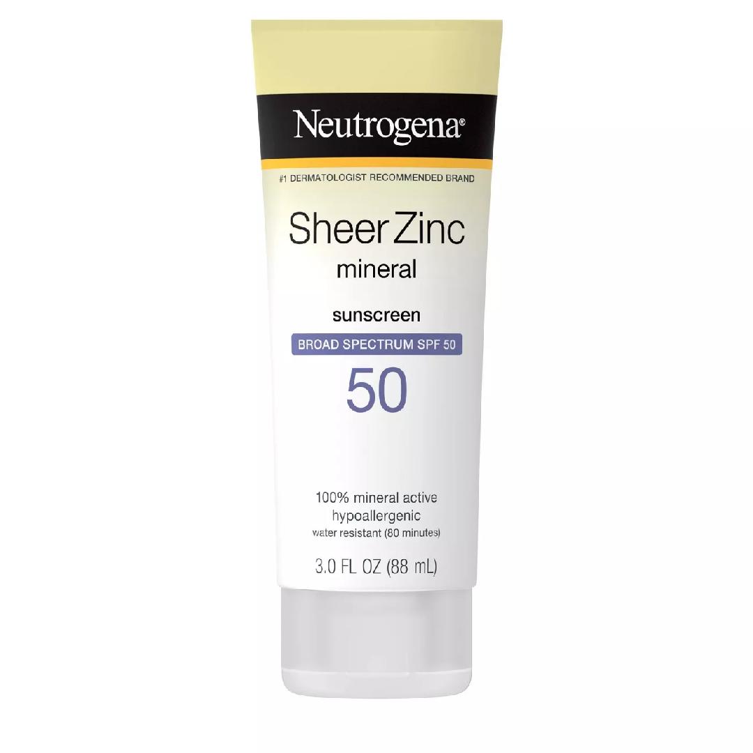 Neutrogena Sheer Zinc Mineral Sunscreen Lotion SPF 50 – 3 fl oz