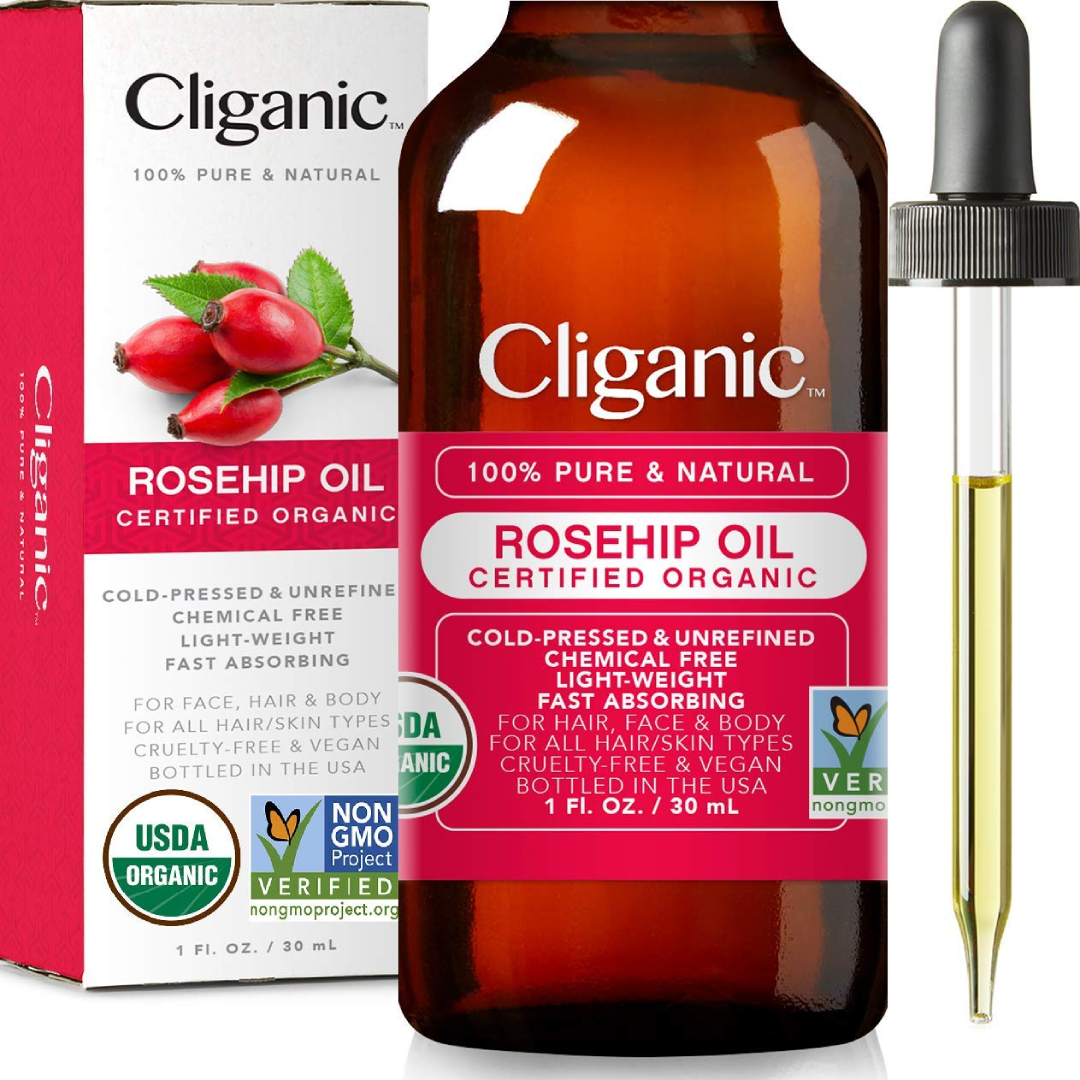 Cliganic USDA Organic Rosehip Seed Oil for Face
