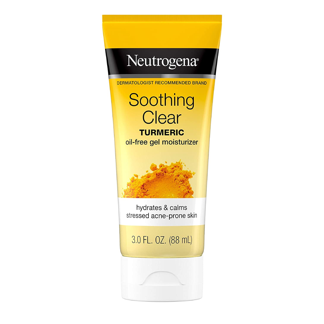 Neutrogena Soothing Clear Calming Turmeric Gel Facial Moisturizer to hydrate and soothe stressed acne-prone skin