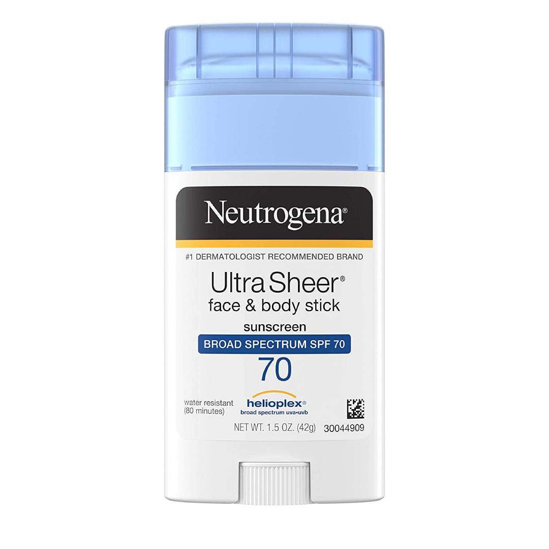 Neutrogena Ultra Sheer Non-Greasy Sunscreen Stick for Face & Body, Broad Spectrum SPF 70