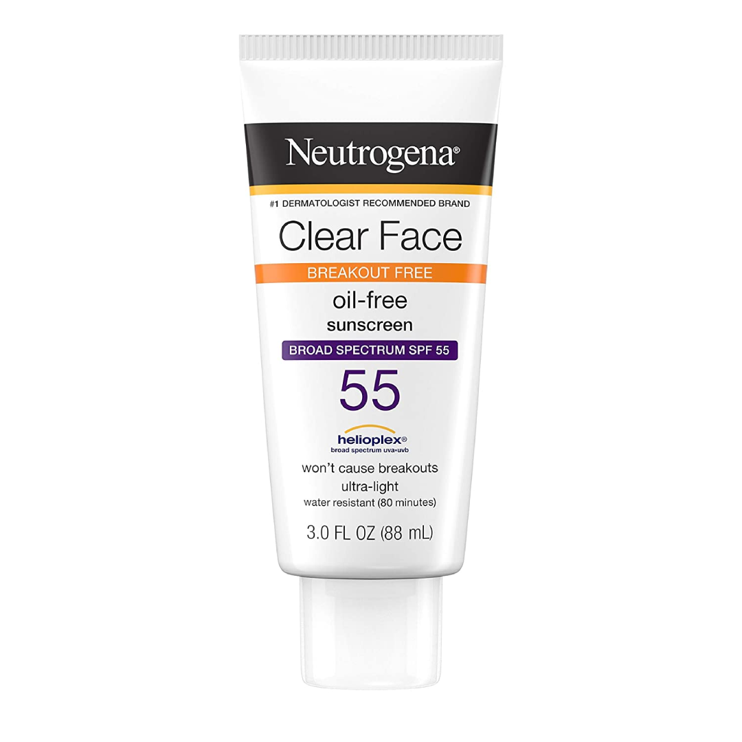 Neutrogena Clear Face Liquid Lotion Sunscreen for Acne-Prone Skin, Broad Spectrum SPF 55